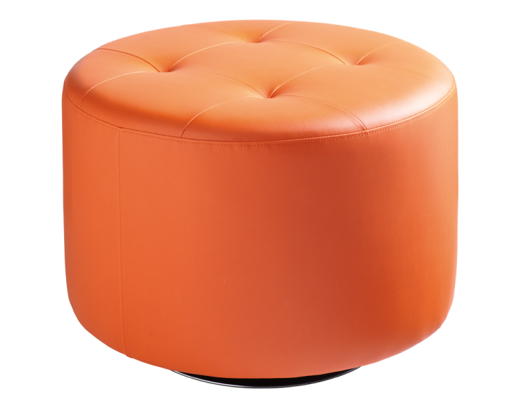 Orange swivel ottoman