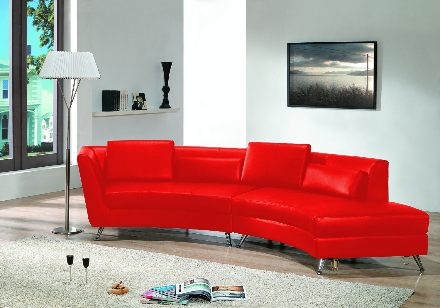 Curved Chaise Sectional  - Red