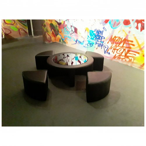 Round Cocktail Table with Four Benches