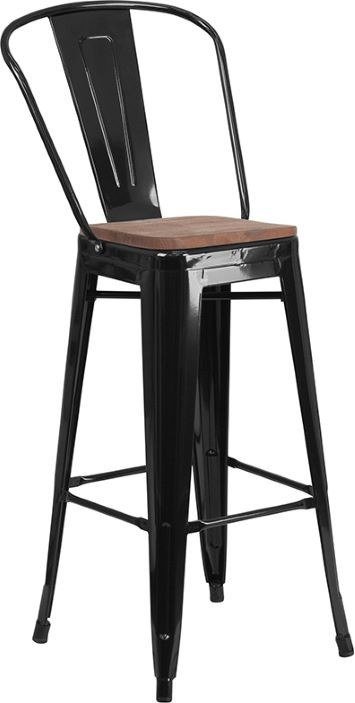 Bistro Bar Stool - Black and Wood